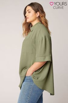 Yours Limited Green Pleat Front Top