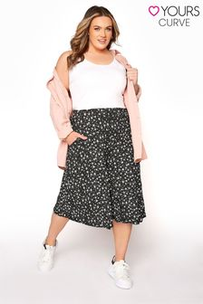 Yours Black Summer Daisy Culotte