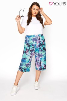 Yours Blue Tie Dye Ribbed Culottes