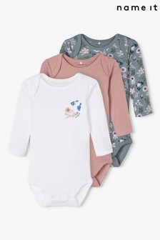 Name It Pink, White & Blue Floral Long Sleeve Bodysuit 3 Pack