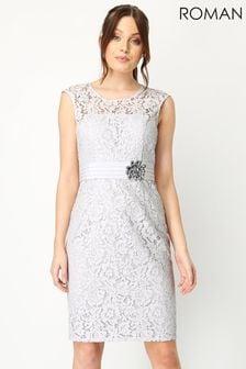 Roman Grey Lace Embellished Trim Dress
