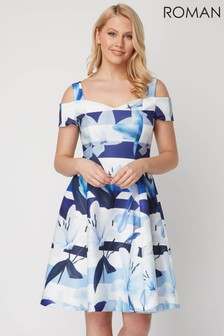 Roman Blue Floral Stripe Fit and Flare Dress