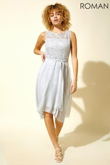 Roman Grey Lace Detail Fit And Flare Dress