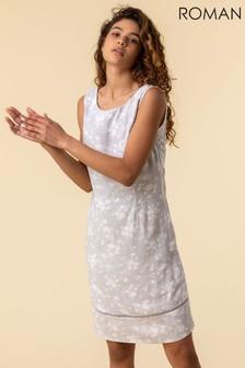 Roman Grey Floral Print V-Back Shift Dress
