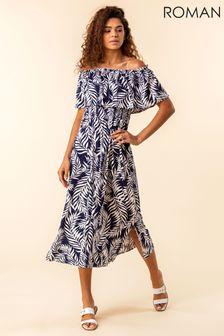 Roman Navy Palm Print Bardot Dress