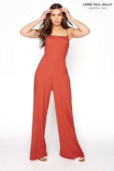 Long Tall Sally Brown Ribbed Wide Leg Jumpsuit