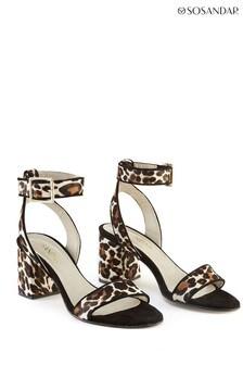 Sosandar Brown Leopard Print Block Heel Leather Sandal
