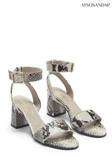 Sosandar Grey Snake Print Block Heel Leather Sandal