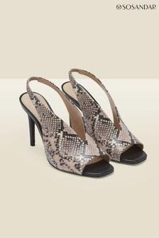 Sosandar Grey Nova Snake Leather V Front Slingback Heel
