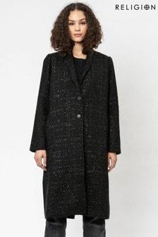 Religion Black Long Line Lurex Boucle Crombie Coat