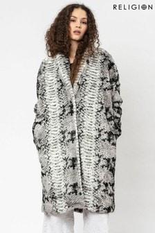 Religion Grey Faux Snake Fur Oversized Coat With 3D Lazer Coat