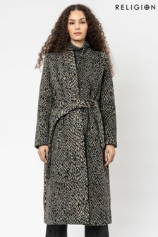 Religion Wool Snake Shawl Collar Wrap Coat With Tie Belt