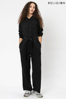Religion Black Button Through Jumpsuit With Stud Detailing