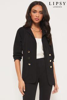 Lipsy Black Jersey Military Tailored Button Blazer