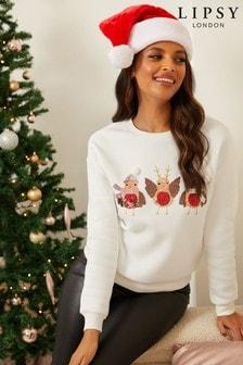 Lipsy Cream Robin Christmas Sweatshirt