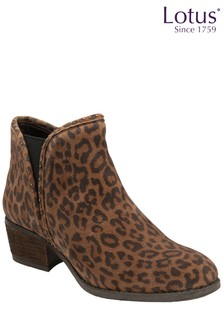 Lotus Footwear Brown Leopard-Print Leather Ankle Boots