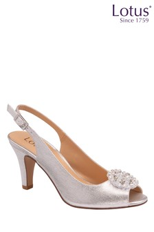 Lotus Footwear Silver Slingback Court Heels