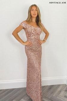 Sistaglam Pink All Over Sequin Cap Sleeve Maxi Dress