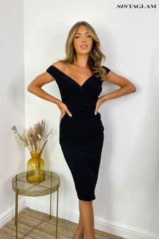 Sistaglam Black Loves Jess Wrap Dress