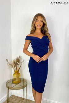 Sistaglam Blue Loves Jess Floral Wrap Dress