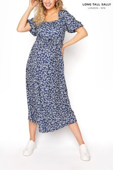 Long Tall Sally Blue Square Neck Puff Sleeve Dress