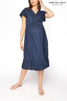 Long Tall Sally Blue V-Neck Angel Sleeve Linen Blend Dress