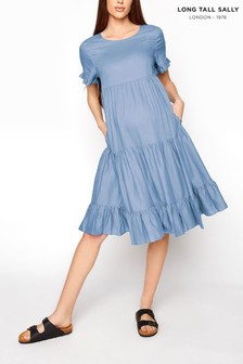 Long Tall Sally Blue Tiered Dress With Pockets