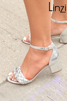 Linzi Silver Brielle Plaitted Upper Barely There Sandal