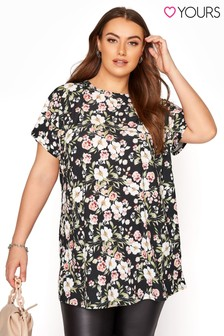 Yours Black Floral Bow Back Top