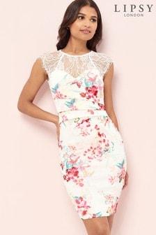 Lipsy Print Eyelash Lace Bridesmaid Dress