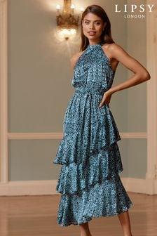 Lipsy Blue Printed Tiered Halter Midi Dress