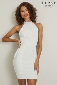 Lipsy White Lace High Neck Dress