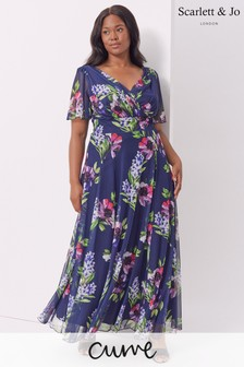 Scarlett & Jo Navy Isabelle Float Sleeve Maxi Dress