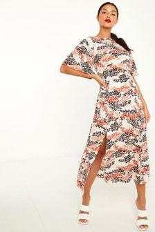 Quiz Brown Leopard Print Midi Dress