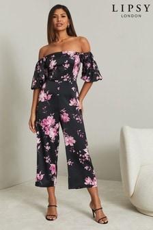 Lipsy Black Printed Bardot Puff Sleeve Jumpsuit