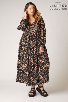 Yours Limited Black Mono Paisley Smock Maxi Dress
