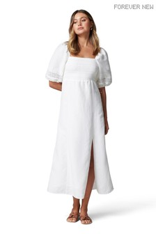 Forever New White Indiana Lace Spliced Midi Dress