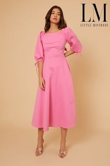 Little Mistress Pink By Vogue Williams Textured Midaxi Dress With Cut Out