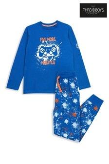 Threadboys Blue Long Sleeve Cotton Pyjama Set