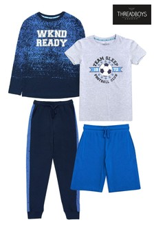 Threadboys Blue 2 Pack Cotton Assorted Pyjama Set