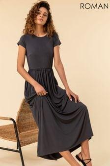 Roman Grey Gathered Skirt Maxi Dress