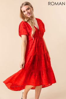 Roman Red Broderie Tiered Smock Dress