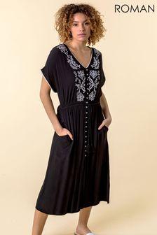 Roman Black Embroidered Button Through Midi Dress