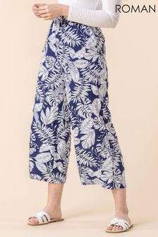 Roman Navy Bird Leaf Print Culotte Trouser