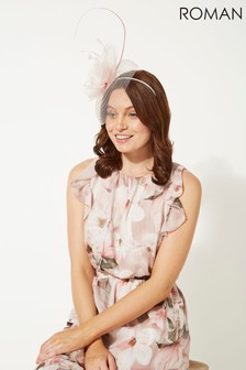 Roman Neutral Large Quill And Dome Flower Fascinator