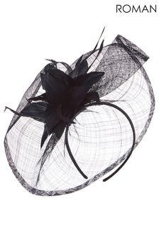 Roman Black Floral Feather Veil Disc Fascinator