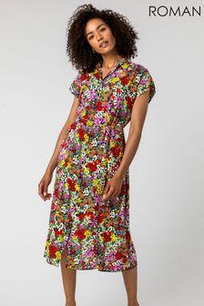 Roman Red Contrast Floral Print Shirt Dress