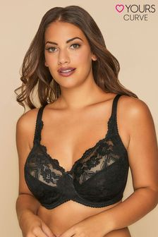 Yours Black Stretch Lace Non-Padded Underwired Bra