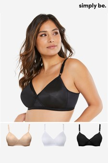 Simply Be Black 3 Pack Claire Molded Full Cup Non Wired Bras
