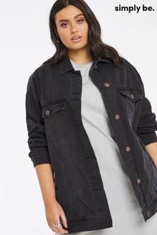 Simply Be Black Oversized ExBoyfriend Denim Jacket